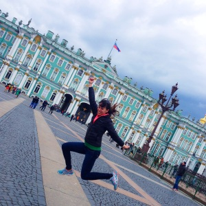 In front of the Hermitage Museum in St. Petersburg, Russia.