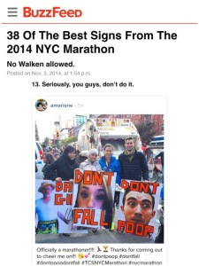 Buzzfeed: Best 2014 NYC Marathon signs.